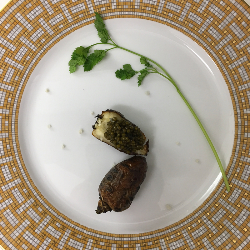 Chervil roots and caviar