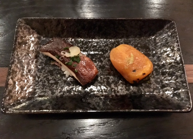 Grilled matsutake and vegetable sushi