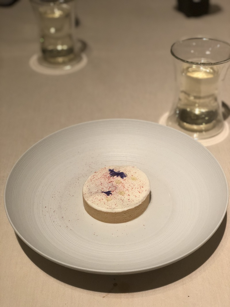 rhubarb and tart, topped with a delicate and jasmine foam at Astrance