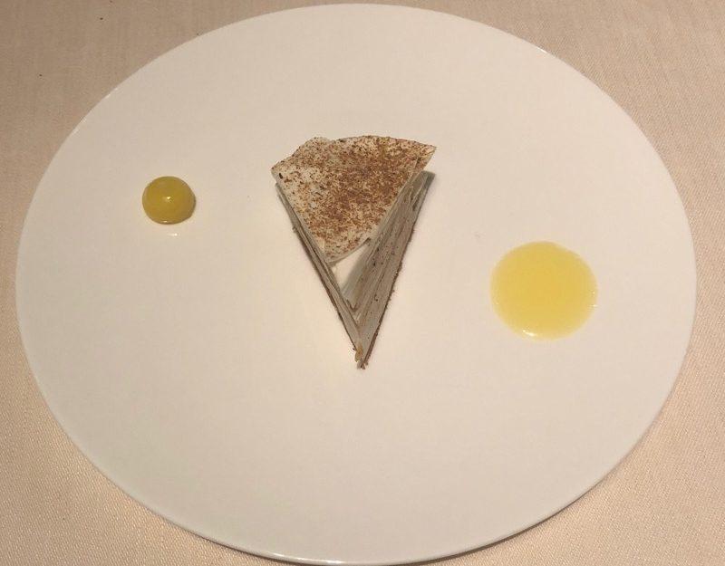 'arte au foie gras, champignons et agrumes