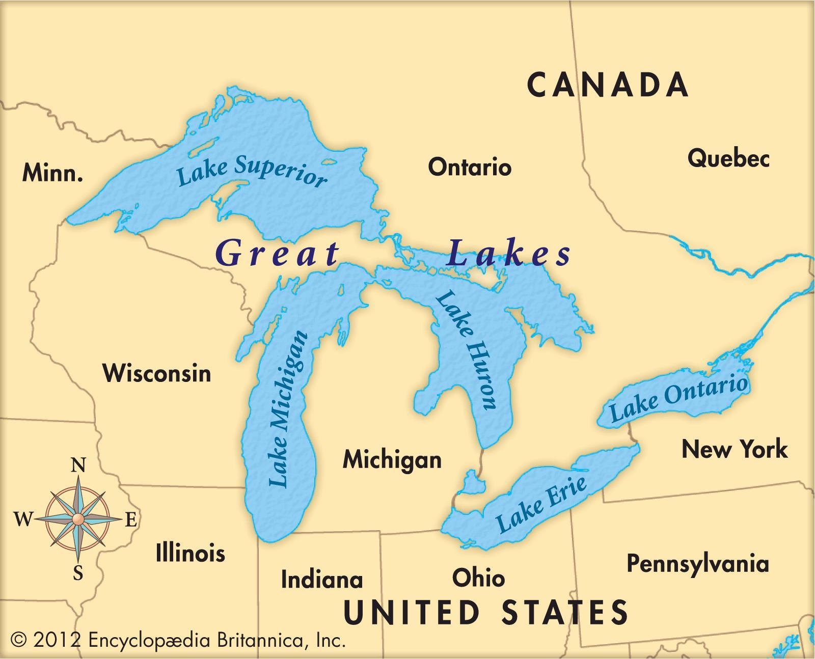 Great Lakes (North America). Lake names 72