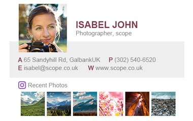 Email signature for Photographer