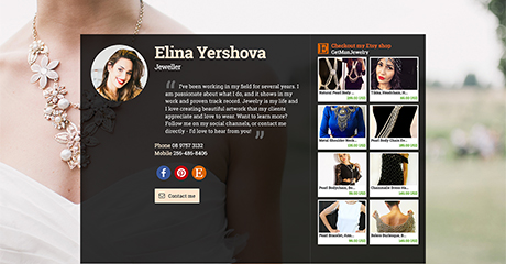 Elina Yershova Jeweller Personal Website