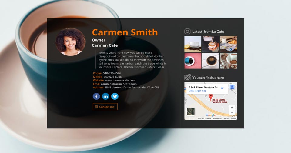 WiseIntro page for Cafe Owner