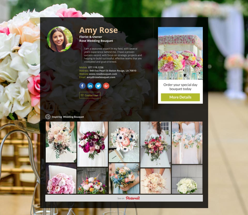 WiseIntro page for Florist & Owner