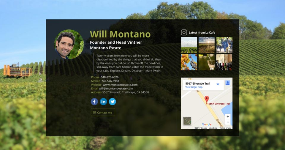 WiseIntro page for Head Vintner