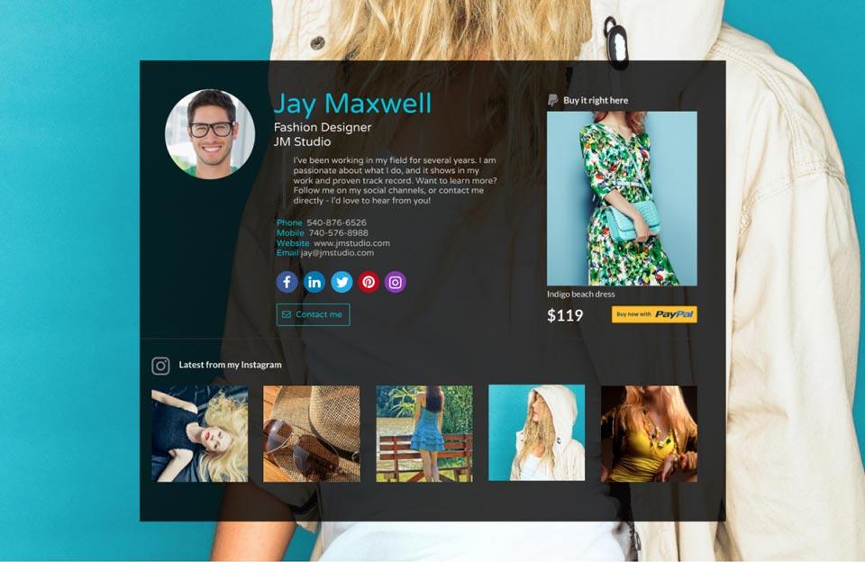 WiseIntro Page for Fashion Designer