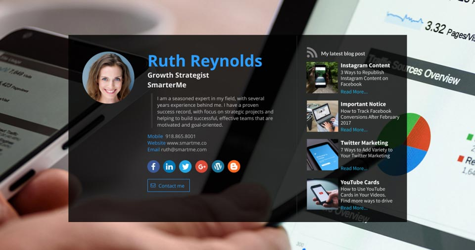 WiseIntro webpage for Growth Strategist