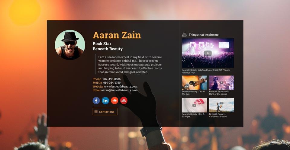 WiseIntro webpage for Rock Artist