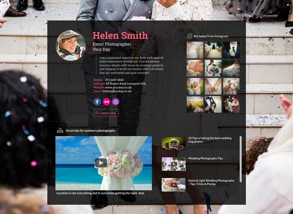 WiseIntro webpage for Event Photographer