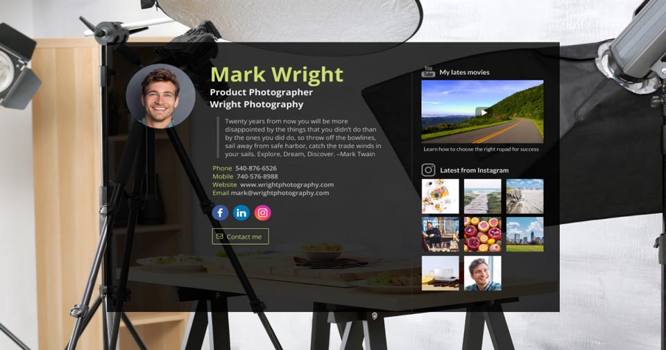 WiseIntro webpage for Product Photographer