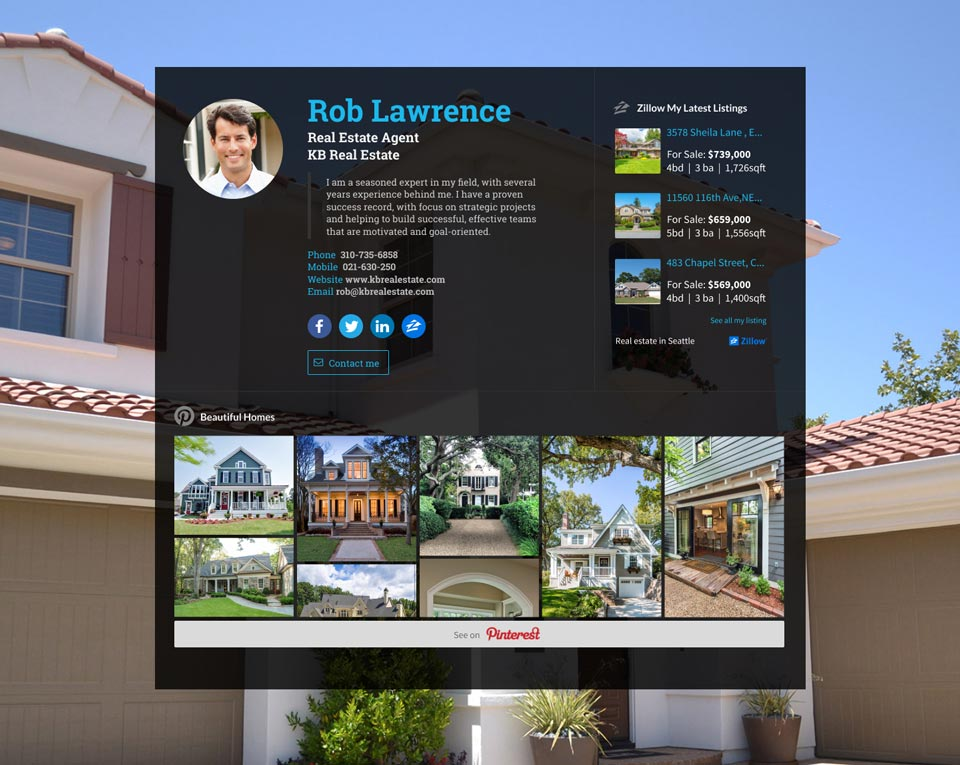 WiseIntro webpage for Real Estate Agent