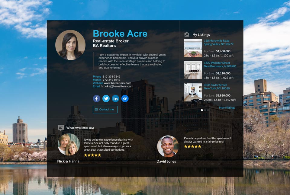 WiseIntro webpage for Real-estate Broker