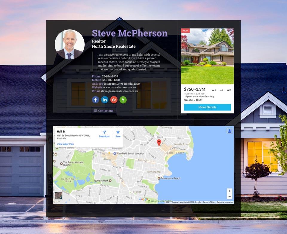 WiseIntro webpage for Realtor