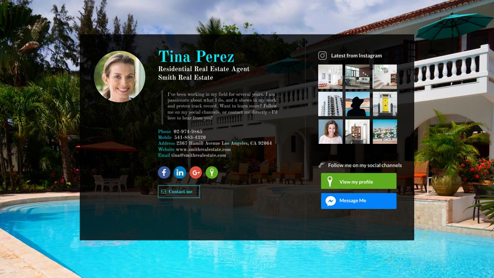 WiseIntro webpage for Residential Real Estate Agent