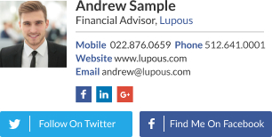 WiseStamp email signature for Financial Advisor