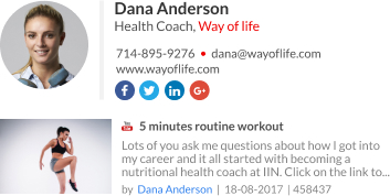 WiseStamp email signature for Health Coach