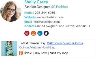 WiseStamp email signature for Fashion Designer