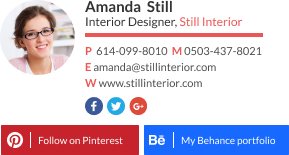 WiseStamp email signature for Interior Designer