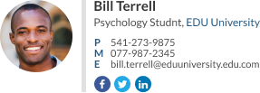 WiseStamp email signature for Psychology Student
