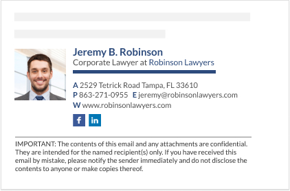 WiseStamp email signature for Corporate Lawyer
