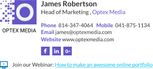 WiseStamp email signature for Head of Marketing