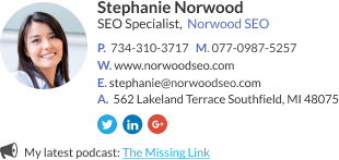 WiseStamp email signature for SEO Specialist