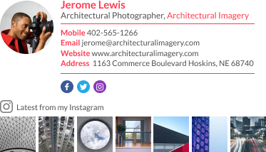 WiseStamp email signature for Architectural Photographer