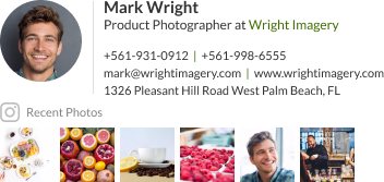 WiseStamp email signature for Product Photographer