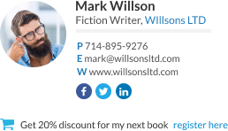 WiseStamp email signature for Fiction Writer