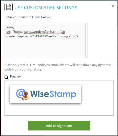 Screenshot of the HTML app setting swith code in the top and image preview on the bottom