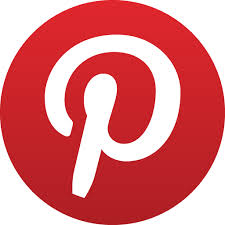 Pinterest icon of a red circle with a white, script P in the middle