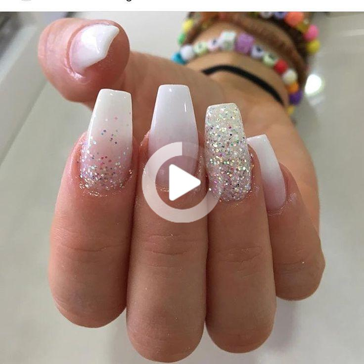 Ombre With White Glitter Instanails Ombre Nails Naildesign Nailaddict Glitter Glitternails Pin