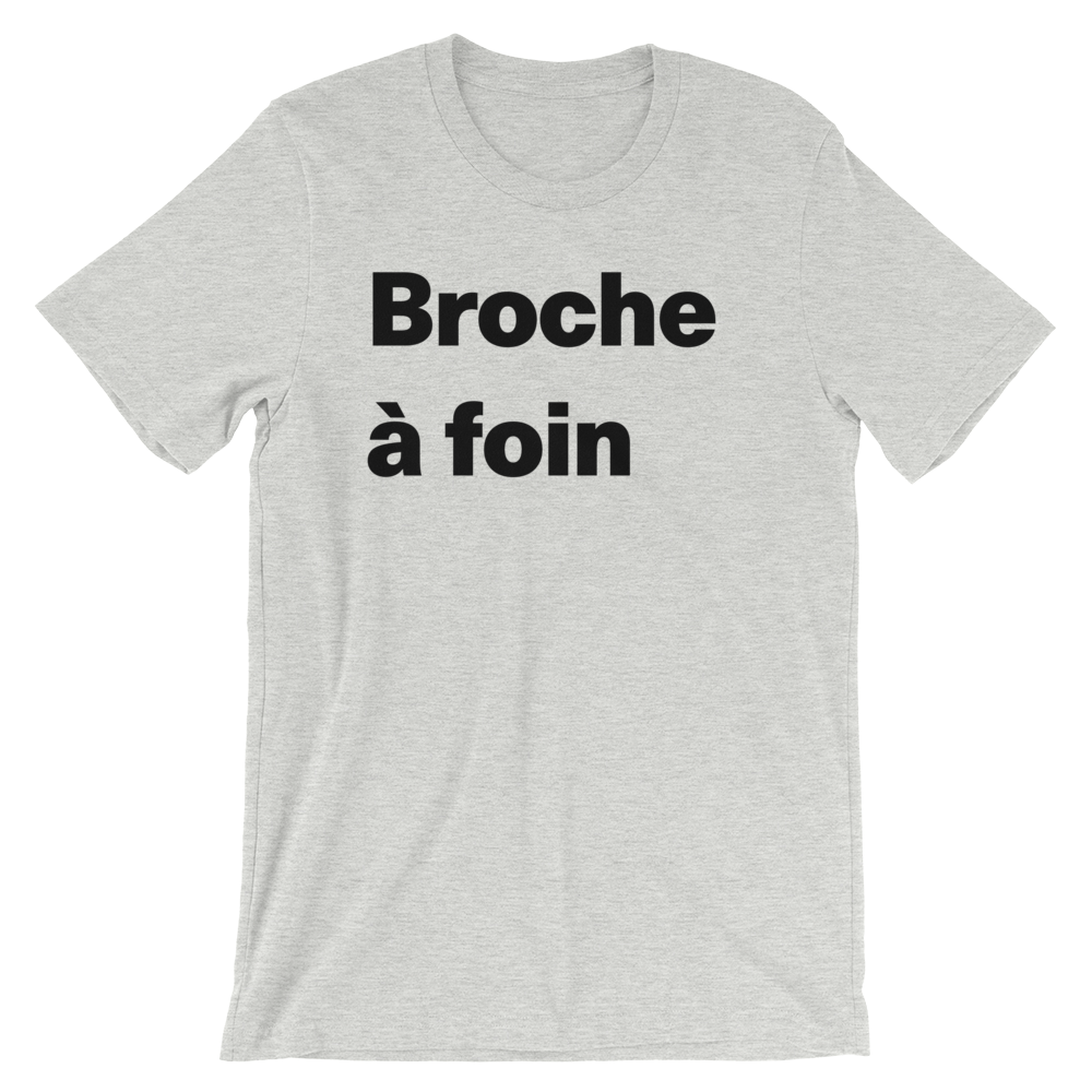T-Shirt unisexe grisâtre «Broche à foin»