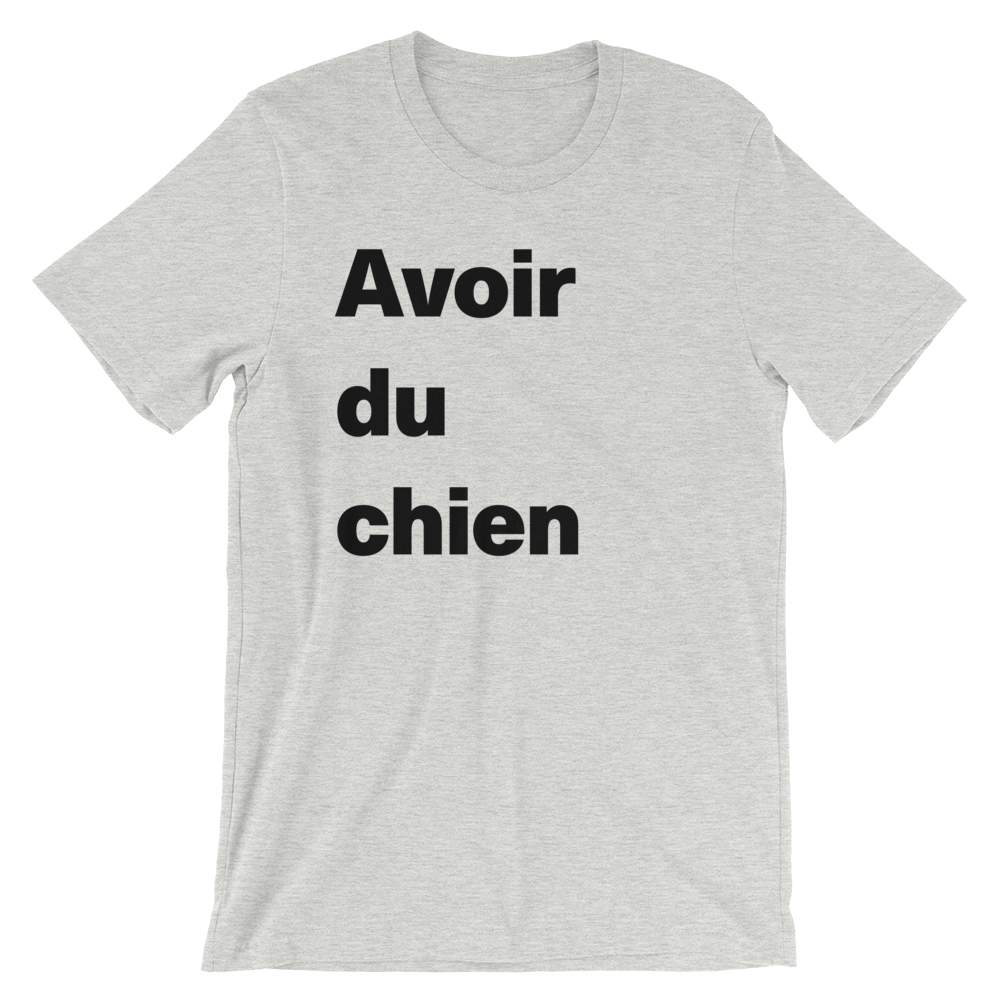T-Shirt unisexe grisâtre «Avoir du chien»
