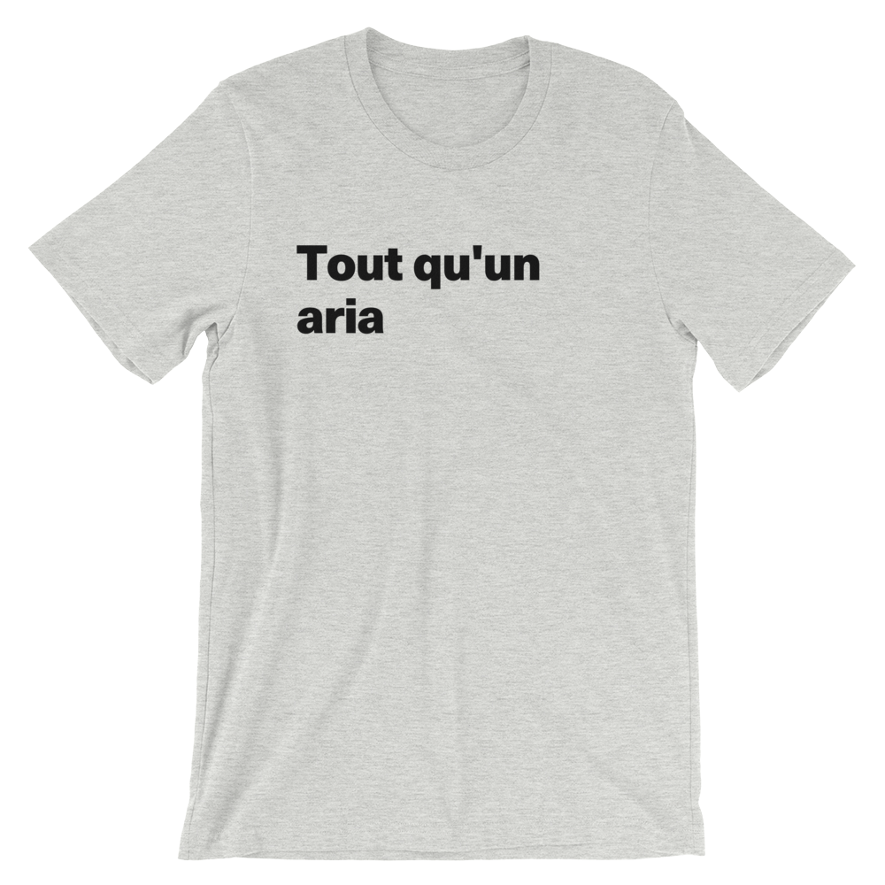 T-Shirt unisexe grisâtre «Tout qu'un aria»