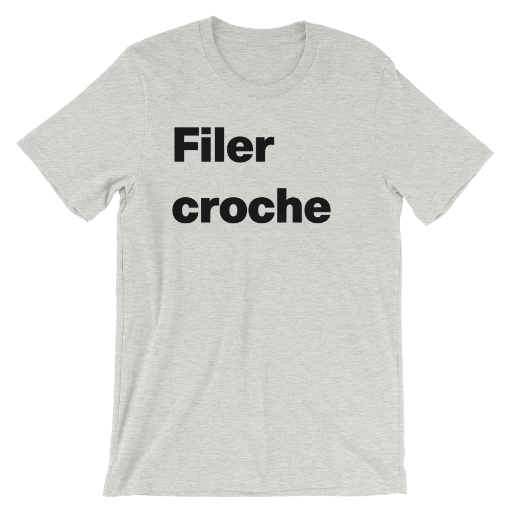 T-Shirt unisexe grisâtre « Filer croche »