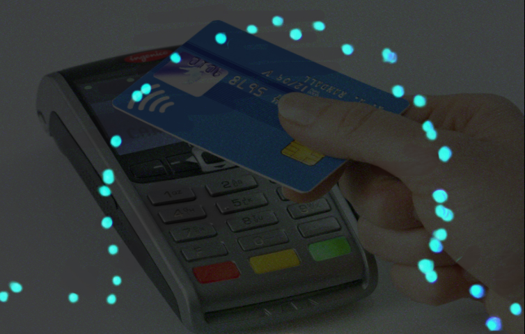 LED representation of the working envelope of where contactless payment card would operate in space when close to the card reader shown in overlay. Outside of this envelope operation ceases