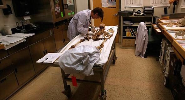La antropóloga forense Tracy Van Deesthace un inventario de los huesos de esqueletos recuperados del desierto; en Tucson, Arizona.