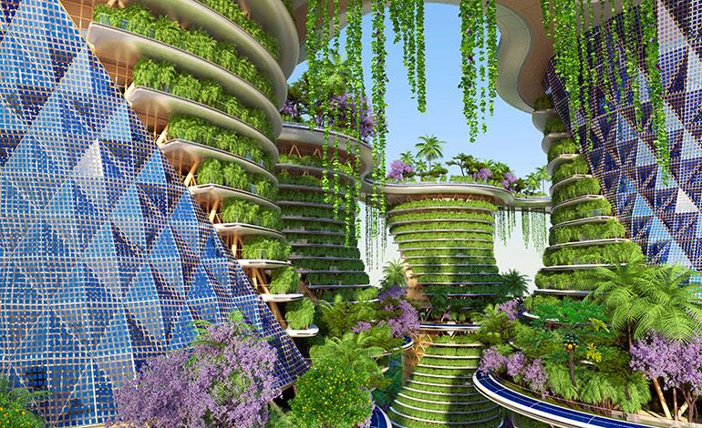 La ciudad oasis con los paneles solares diseñados en color azul que dotarán de electricidad a todo el complejo.Foto: Vincent Callebaut Architectures (París)