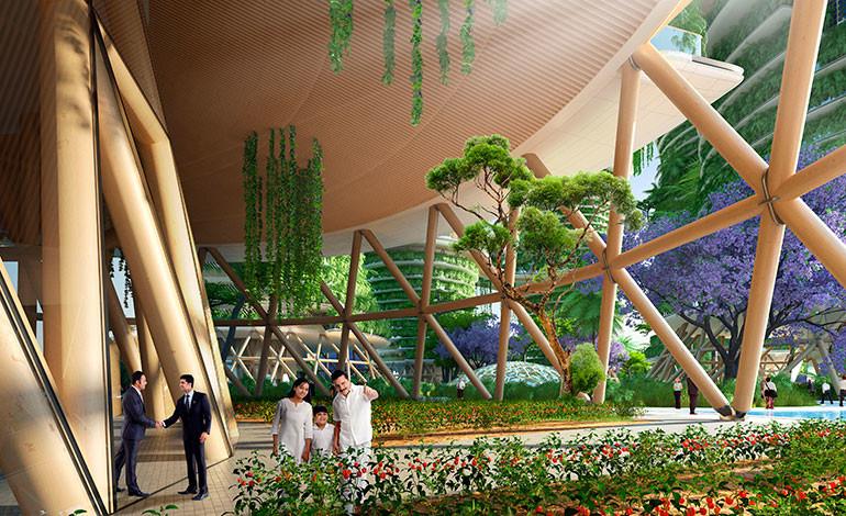 Una vista infográfica de cómo serán las estructuras de madera del complejo.Foto: Vincent Callebaut Architectures (París)