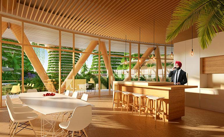 La madera será el elemento básico y canalizador de este complejo de edificios al ser un elemento bueno con el medioambiente.Foto: Vincent Callebaut Architectures (París)