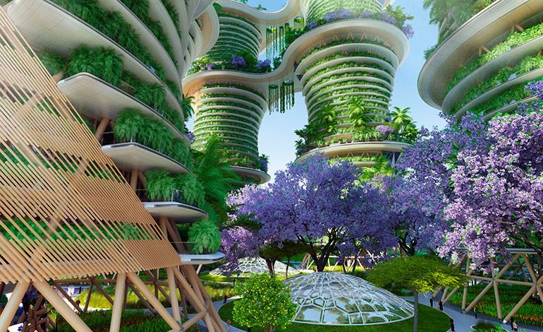 Así se diseñan los lugares comunes e interconectados del complejo indio. Foto: Vincent Callebaut Architectures (París)
