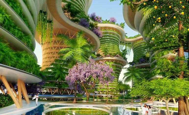 El agua y los árboles frutales estarán por toda la ciudad oasis diseñada para un barrio moderno de Nueva Delhi. Foto: Vincent Callebaut Architectures (París)