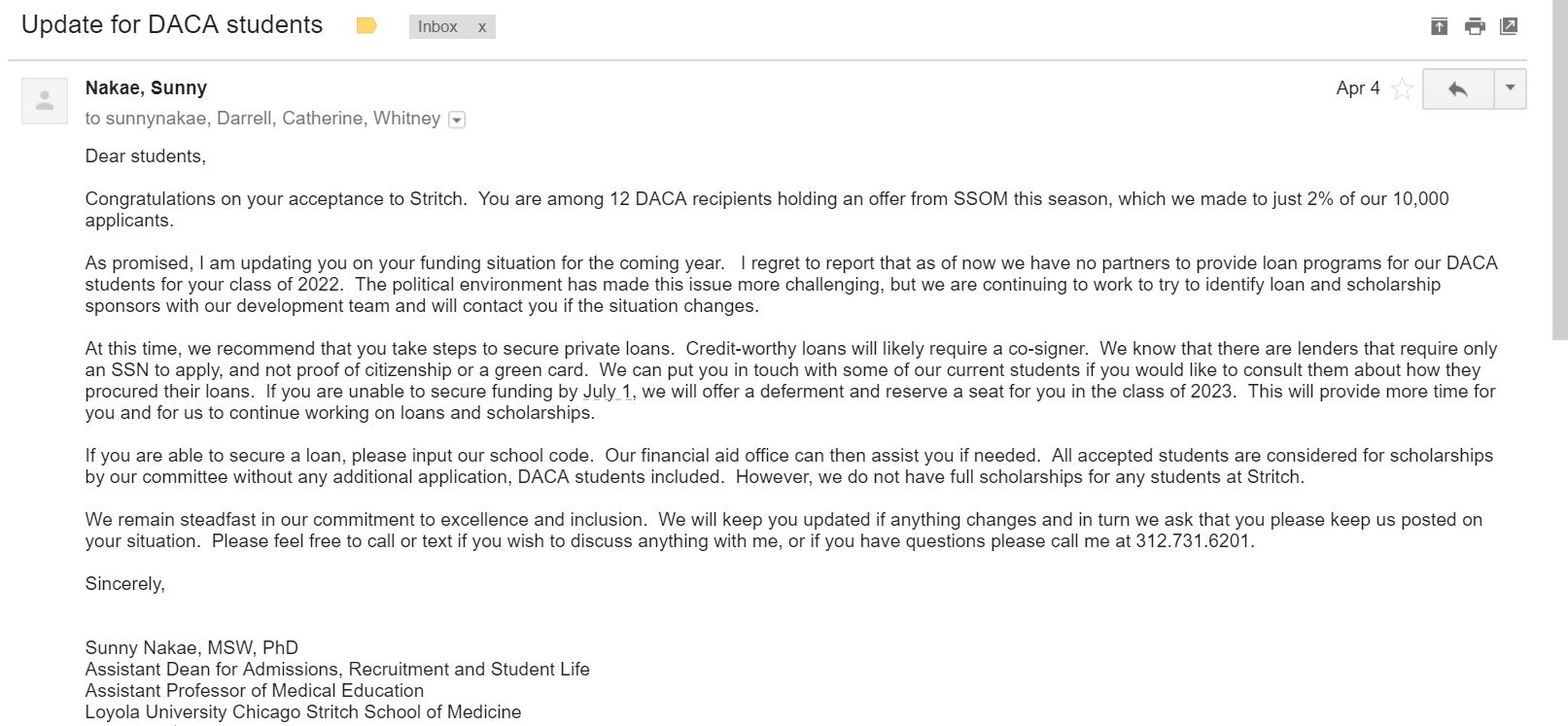 Med School Update Letter.Projects Medical School Dreamer Fund Launchgood