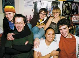 (Clockwise from upper left) Lauren Berger, Louisa Quast, Cheyenne Johnson, Nathaniel Brandner, Tiffany Lane, name withheld. University of Minnesota students enjoy conversation and safe space in Lavender House, a new Living and Learning Community around the themes of gender and sexuality offered by the University's Residential Life. Photo by Sophia Hantzes
