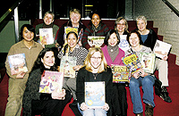 The board and staff of aMaze at the Bud, Not Buddy postshow reception at Children's Theatre in Minneapolis. Photo by Sophia Hantzes