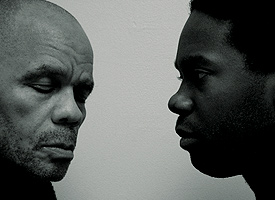 David Evlus Wiles (left) and Eric Avery in Blue Door. Photo Courtesy of Emigrant Theater