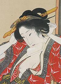 Detail: Courtesan in Her Boudoir; Utagawa Toyokuni (1789-1825). Tokugawa period, c. 1818-25; hanging scroll, ink and color on silk.