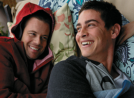 Brad Rowe (left) as Shaun and Trevor Wright as Zach in Sheller. Photo Courtesy of The Karpel Group
